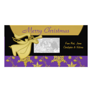 Elegant Christmas gold holiday greeting Picture Card