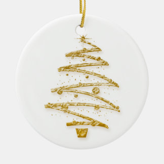 Elegant Christmas gold tree decorations Round Ceramic Decoration