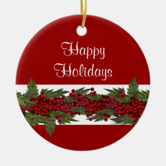 Elegant Christmas greeting PERSONALIZE Round Ceramic Decoration