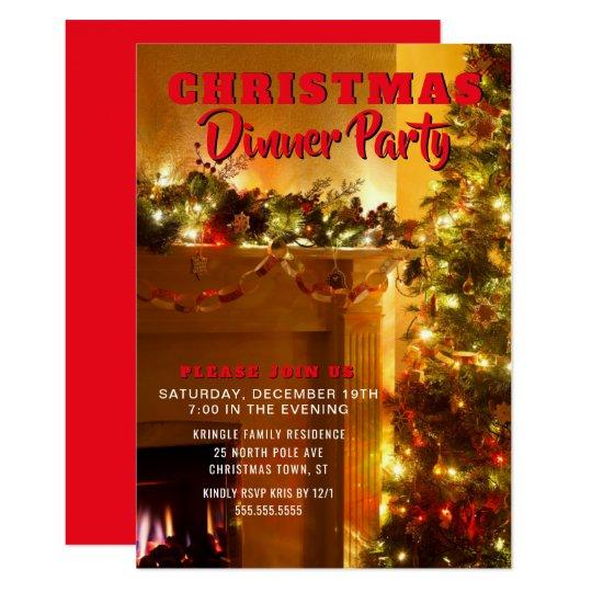 Elegant Christmas Holiday Dinner Party Invitation