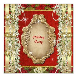 "Elegant Christmas ""holiday party"" gold custom Card"