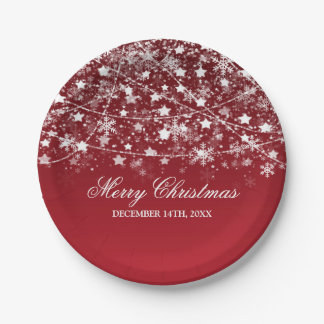 Elegant Christmas Holiday String Lights Red Paper Plate