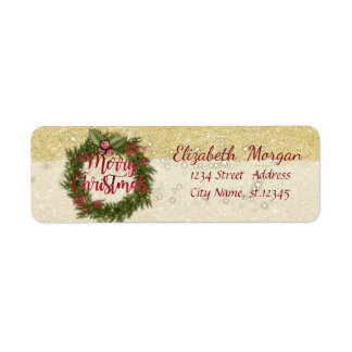 Elegant Christmas Holiday Wreath,Glittery Return Address Label