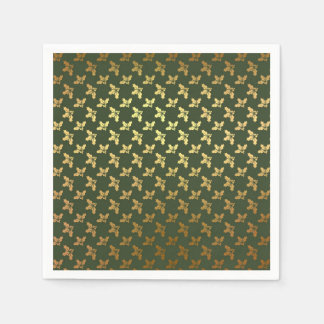 Elegant Christmas Holly Gold Pattern Disposable Napkin