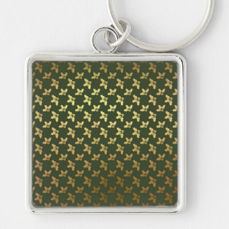Elegant Christmas Holly Gold Pattern Silver-Colored Square Key Ring