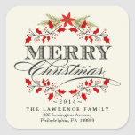 Elegant Christmas Holly Wreath Square Stickers