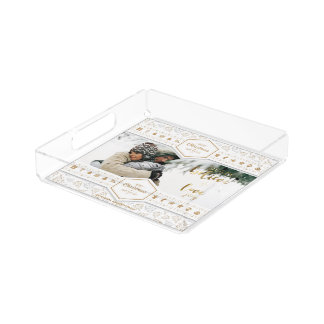 Elegant Christmas Love Photo Acrylic Tray