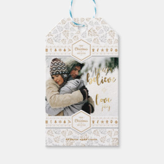 Elegant Christmas Love Photo Gift Tags