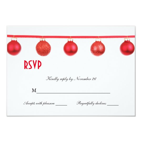 Elegant Christmas Ornaments Holiday Party RSVP Card