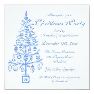 Elegant Christmas Party Festive Tree Blue 13 Cm X 13 Cm Square Invitation Card
