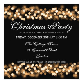 Elegant Christmas Party Gold Hollywood Glam Card