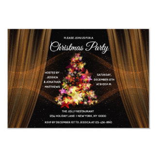 Elegant CHRISTMAS PARTY Gold Twinkle Lights Tree Card