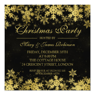 Elegant Christmas Party Gold Winter Snowflakes Card