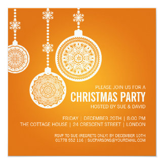 Elegant Christmas Party Ornaments Orange 13 Cm X 13 Cm Square Invitation Card