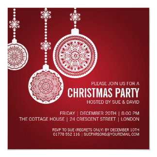 Elegant Christmas Party Ornaments Red Card