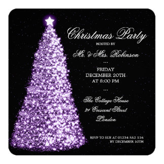 Elegant Christmas Party Purple Tree 5.25x5.25 Square Paper Invitation Card