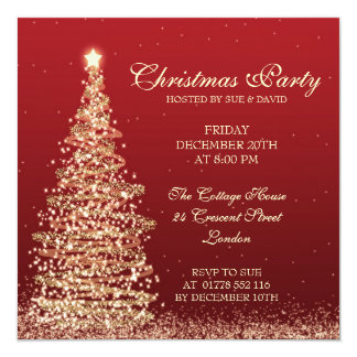 Elegant Christmas Party Red Card