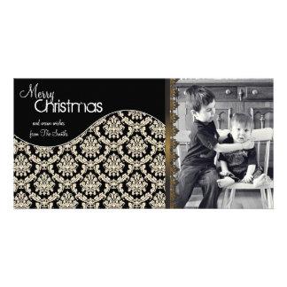 Elegant Christmas Photo Card Cream Damask