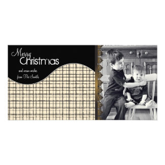 Elegant Christmas Photo Card Cream Plaid Stripes