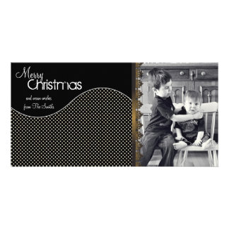 Elegant Christmas Photo Card Cream Polka Dots