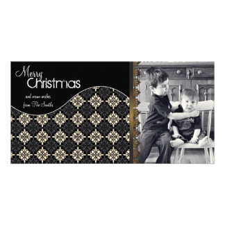 Elegant Christmas Photo Card Cream Snowflakes