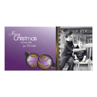 Elegant Christmas Photo Card Ornaments & Swirls