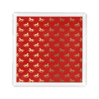 Elegant Christmas Rocking Horse Gold Pattern Acrylic Tray