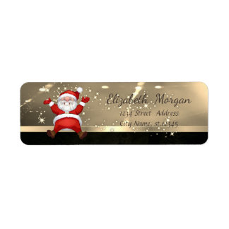 Elegant Christmas,Santa Claus,Faux Gold Return Address Label