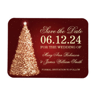 Elegant Christmas Save The Date Gold Red Vinyl Magnets