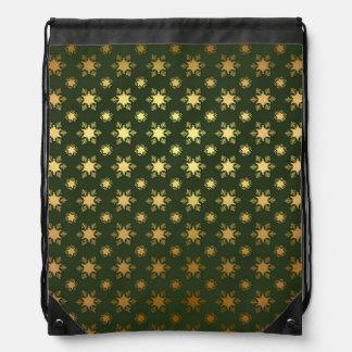 Elegant Christmas Snowflake Gold Foil Pattern Drawstring Bag