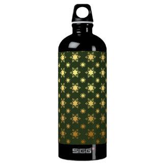 Elegant Christmas Snowflake Gold Foil Pattern Water Bottle