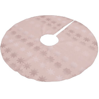 Elegant Christmas snowflake rose gold pattern Brushed Polyester Tree Skirt