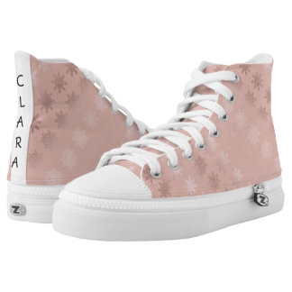 Elegant Christmas snowflake rose gold pattern High Tops