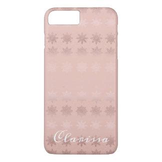 Elegant Christmas snowflake rose gold pattern iPhone 8 Plus/7 Plus Case