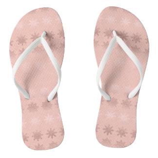 Elegant Christmas snowflake rose gold pattern Thongs