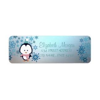 Elegant Christmas,  Snowflakes, Penguin Return Address Label