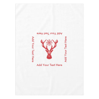 Elegant Christmas Stag Red and White Deer Tablecloth