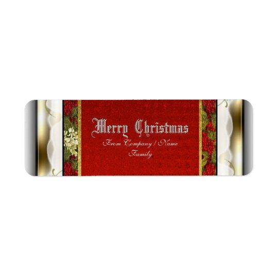 Elegant Christmas traditional snow Return Address Label