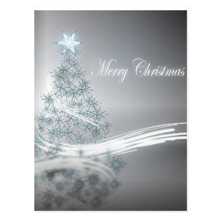 Elegant Christmas Tree and  Silver Star Postcard