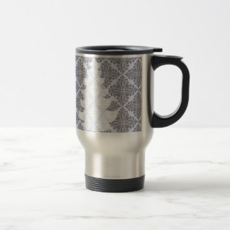 Elegant Christmas Tree  Modern Damask Pattern Travel Mug