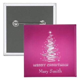 Elegant Christmas Tree Name Pink Custom 15 Cm Square Badge