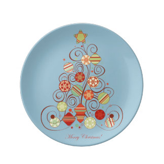 Elegant Christmas Tree Porcelain Plate