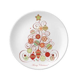 Elegant Christmas Tree Porcelain Plates