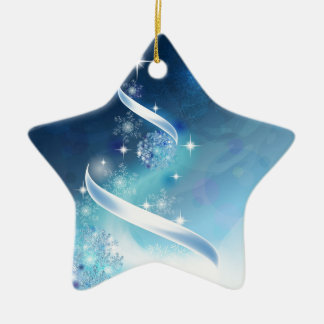 Elegant Christmas Tree with robins Ceramic Star Decoration