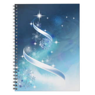Elegant Christmas Tree with robins Spiral Note Books