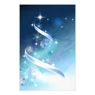 Elegant Christmas Tree with robins Stationery