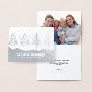 Elegant Christmas Trees Holiday Photo Greetings Foil Card