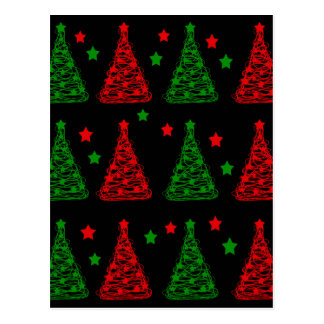 Elegant Christmas trees pattern Postcard