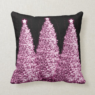 Elegant Christmas Trees Pink Throw Cushions