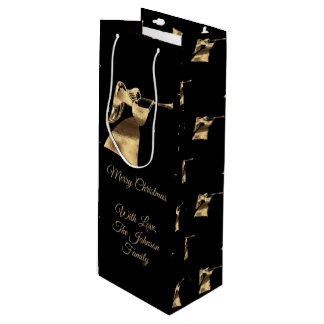 Elegant Christmas Trumpet Angel Black Gold Look Wine Gift Bag
